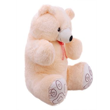 GRJ India 36 Inches Valentine Combo of Teddy & Soft Toy Heart-Cream-GRJ-TD-HRT-CRM-36