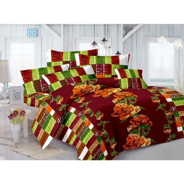 Valtellina 100% Cotton Double Bedsheet with 2 Pillow Cover-GVS-7004-F