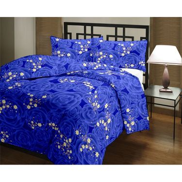 eCraftIndia White and Blue Floral Stars Single Bed Reversible AC Blanket-HFBD164