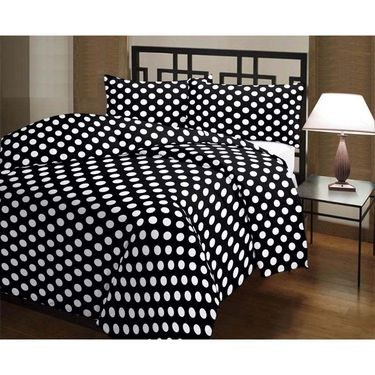 eCraftIndia White Circles on Black Base Single Bed Reversible AC Blanket-HFBD165