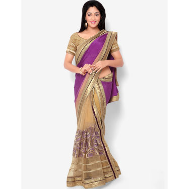 Indian Women Satin Chiffon Printed Saree -HT71013