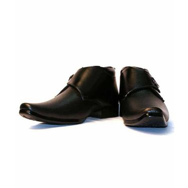 Faux Leather Black Formal Shoes -bn37