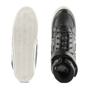 Faux Leather Black Casual Shoes -bn33