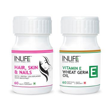 Anti Hair Loss Combo - 60tabs Hair, Skin & Nails + 60caps Vitamin E, Wheat Germ Oil