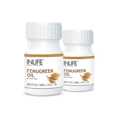 INLIFE Fenugreek Seed Oil 2 Pack 60 Vegetarian Capsules Each For Sugar Balance