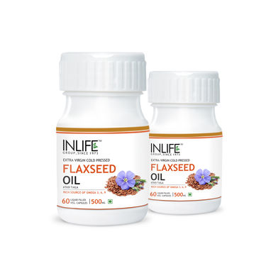 INLIFE FlaxSeed Extra Virgin Cold Pressed Oil - 500 mg, 2 Pack 60 Veg Capsules Each