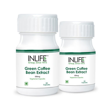 INLIFE Green Coffee Bean Extract 2 Pack 60 Veg Capsules Each 50% Chlorogenic Acid
