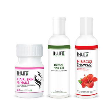 Complete Hair Solution Combo - 60 caps, Hibiscus Shampoo, Hebal Hair Oil