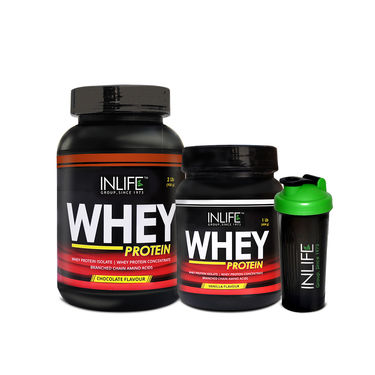 INLIFE Combo Of Whey Protein 2 lbs (908g) Chocolate & 1 lbs (454g) Vanilla with Free Shaker