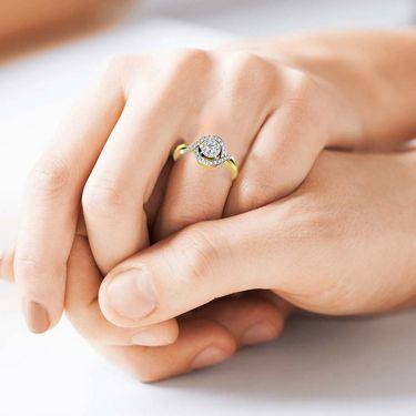 Avsar Real Gold & Swarovski Stone Channai Ring_I039yb