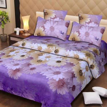 Set of 2 3D Printed Double Bedsheet with 4 Pillow covers -IWS-3d-42