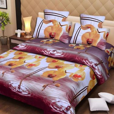 Set of 2 3D Printed Double Bedsheet with 4 Pillow covers -IWS-3d-52