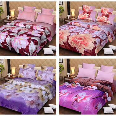 Set of 4 3D Printed Double Bedsheet 8 Pillow covers-IWS-3d-66