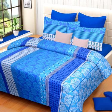 IWS Cotton Printed Double Bedsheet with 2 Pillow Covers-IWS-CB-1030