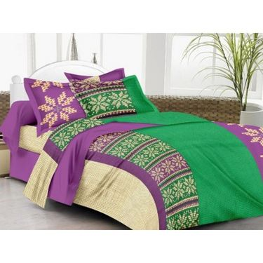 IWS Cotton Printed Double Bedsheet with 2 Pillow Covers-IWS-CB-1262