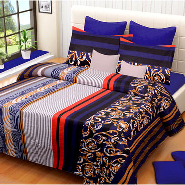 Set of 2 IWS Cotton Printed Double Bedsheet with 4 Pillow Covers-CB1358
