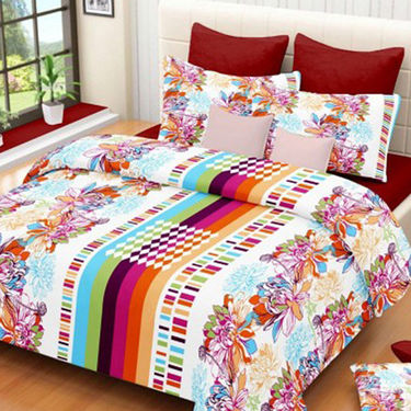 Set of 3 IWS Cotton Printed Double Bedsheet with 6 Pillow Covers-CB1403