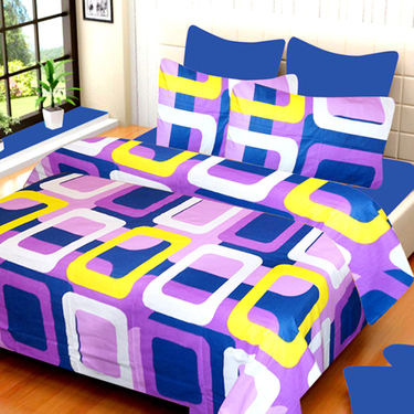 Set of 3 IWS Cotton Printed Double Bedsheet with 6 Pillow Covers-CB1409