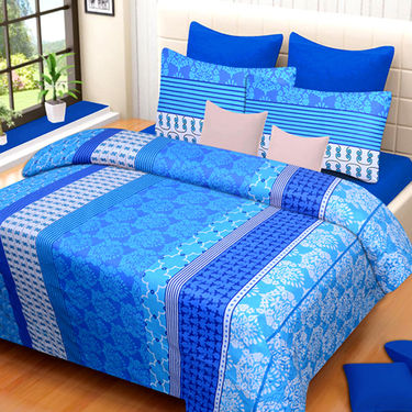 Set of 4 IWS Cotton Printed Double Bedsheet with 8 Pillow Covers-CB1418