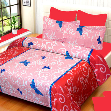 Set of 4 IWS Cotton Printed Double Bedsheet with 8 Pillow Covers-CB1422