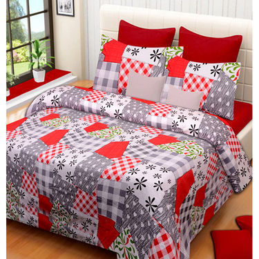 Set of 4 IWS Cotton Printed Double Bedsheet with 8 Pillow Covers-CB1429