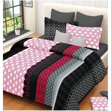 Set of 4 IWS Cotton Printed Double Bedsheet with 8 Pillow Covers-CB1434