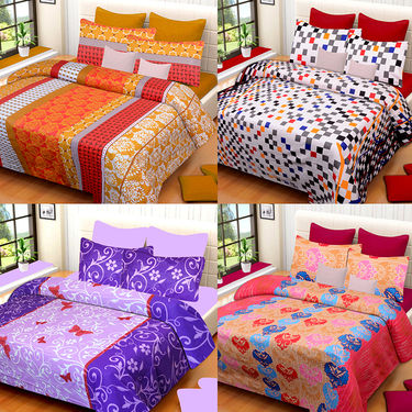 Set of 4 IWS Cotton Printed Double Bedsheet with 8 Pillow Covers-CB1436