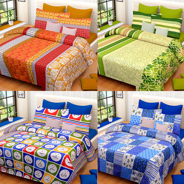 Set of 4 IWS Cotton Printed Double Bedsheet with 8 Pillow Covers-CB1447