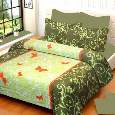 IWS Cotton Printed Double Bedsheet with 2 Pillow Covers-IWS-CB-623