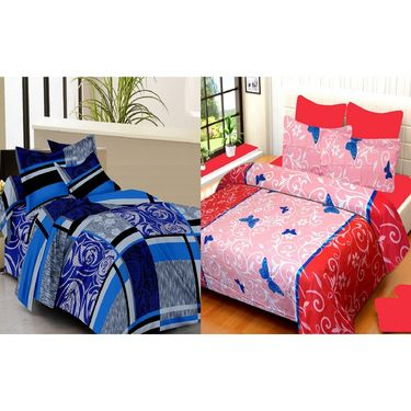 IWS Set of 2 100% Cotton Double Bedsheet with 4 Pillow Cover-IWS-CB-627