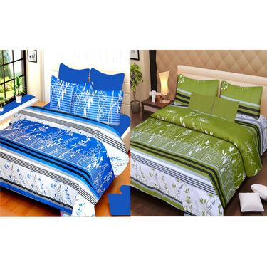 IWS Set of 2 100% Cotton Double Bedsheet with 4 Pillow Cover-IWS-CB-640