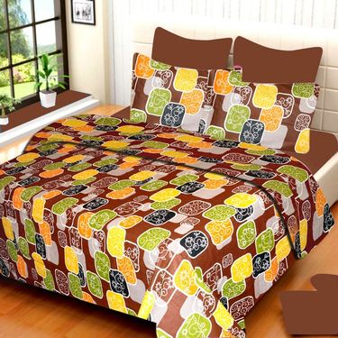 IWS Set of 3 100% Cotton Double Bedsheet with 6 Pillow Cover-IWS-CB-645