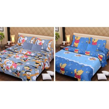 IWS Set of 2 Designer Cotton kids Double Bedsheet with 4 Pillow cover IWS-CCB-33