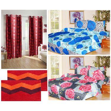 10 Piece Home Decor Combo (IWS 2 Bedsheet with 4 Pillow Covers + 2 Door Curtains + 2 Mats) -IWS-JC-12