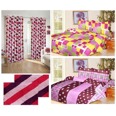 10 Piece Home Decor Combo (IWS 2 Bedsheet with 4 Pillow Covers + 2 Door Curtains + 2 Mats) -IWS-JC-20