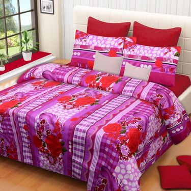 IWS Printed  Double Bedsheet with 2 Pillow Covers-IWS-NPrinted-04