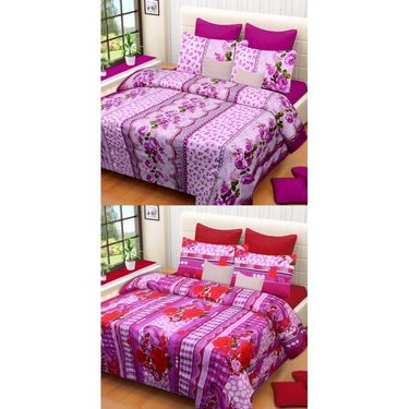 Set of 2 Printed  Double Bedhseets With 4 Pillow Covers-IWS-NPrinted-14