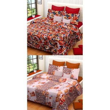 Set of 2 Printed  Double Bedhseets With 4 Pillow Covers-IWS-NPrinted-16