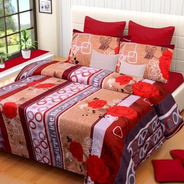 Set of 2 Printed  Double Bedhseets With 4 Pillow Covers-IWS-NPrinted-21