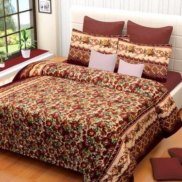 Set of 2 Printed  Double Bedhseets With 4 Pillow Covers-IWS-NPrinted-23