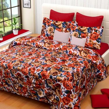 Set of 3 Printed  Double Bedhseets With 6 Pillow Covers-IWS-NPrinted-40