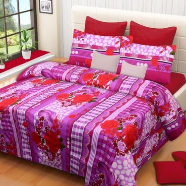 Set of 4 Printed  Double Bedhseets With 8 Pillow Covers-IWS-NPrinted-42