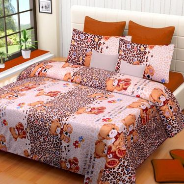 Set of 4 Printed  Double Bedhseets With 8 Pillow Covers-IWS-NPrinted-43