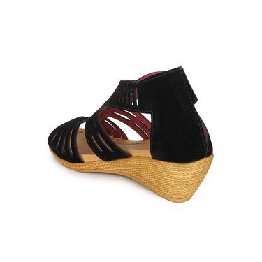 Do Bhai Faux Leather Heels Ice-Sandal-Black