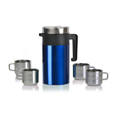 Insulated Flask with 4 Double Wall Steel Mugs