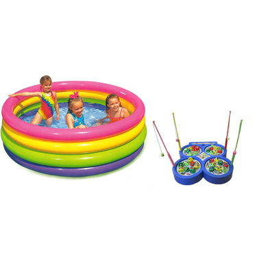 Combo of Intex Snap Set Water Swimming Pool 5 Ft + Fish Catching Game Toy