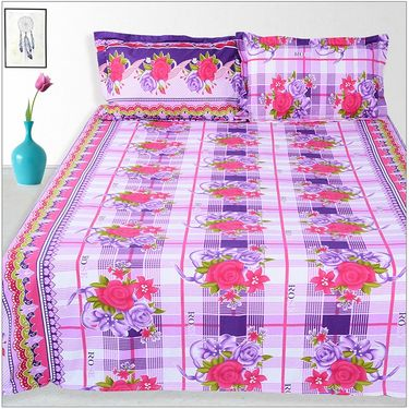 Ahem Homes Cotton 2 Double Bedsheet With 4 Pillow Cover-JC1204