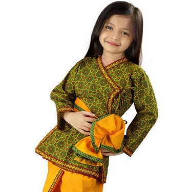 Little India Jaipuri Bandhej Dhoti Angarkha - Green Yellow - DLI3KED202C