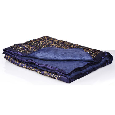 Jaipuri Silk Razai with Gold Prints - Brown or Black or Blue