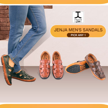 Jenja Comfortable Leatherite Men's Sandals (JS1VO) - Pick Any 1